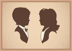 Cute Children Silhouettes Illustration