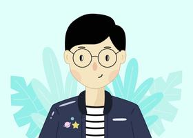 Smart Boy With Glasses Vector