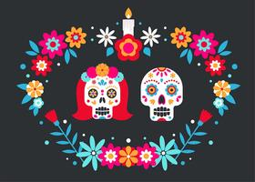 Couple Sugar Skull Vector