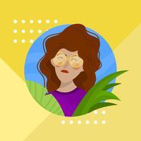 Flaches Mädchen mit roter gewellter Haar-und Glas-Charakter-Vektor-Illustration