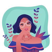 Meisje met golvend haar en glazen Vector