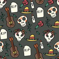 Doodled Day of the Dead Pattern
