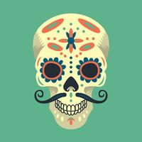 Colorful Mexican Sugar Skull Illustration