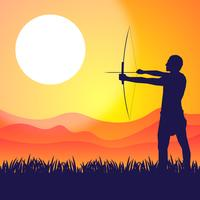 Native Brazilian Amazon Shooting A Bow Vector Illustration