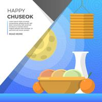 Flat Chuseok Autumn Festival Food with Full Moon Background Vector Illustration
