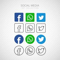 Abstract socila media icons set design