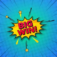 Big win comic colorful pop art background