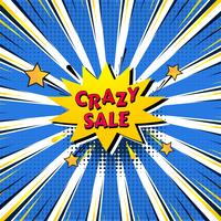 Crazy sale bubble talk in pop-art style colorful background vector