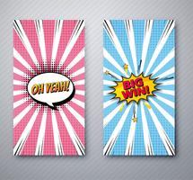 Beautiful comic banners set template design illustration