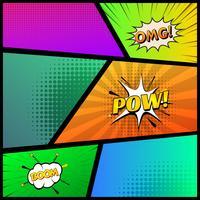 Comic-Buch-Seitenschablone mit buntem Hintergrund der Strahlen