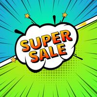 Comic super sale pop art colorful background vector