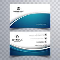 Elegant blue wavy business card template