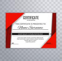 Abstract red certificate template background