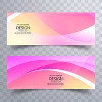 Abstrakt färgrik vågig bannersuppsättning design