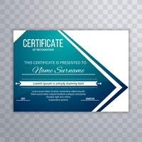 Modern blue certificate template design vector