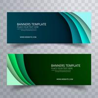 Banners establecen vector de diseño de onda de plantilla colorida