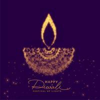Diya diwali criativo feito com partícula de ouro