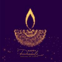 diwali creativo diya fatto con particelle d'oro
