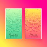 cartes verticales de conception de mandala coloré