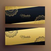 elegante diseño de banners de mandala de oro