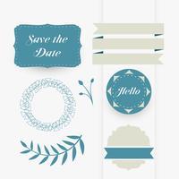 vacker uppsättning dekorativa bröllopsdesignelement