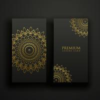 svart och guld lyxiga mandala kort