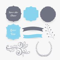elementos y etiquetas de decoración de la boda