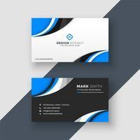 blue wavy dark and light business card design