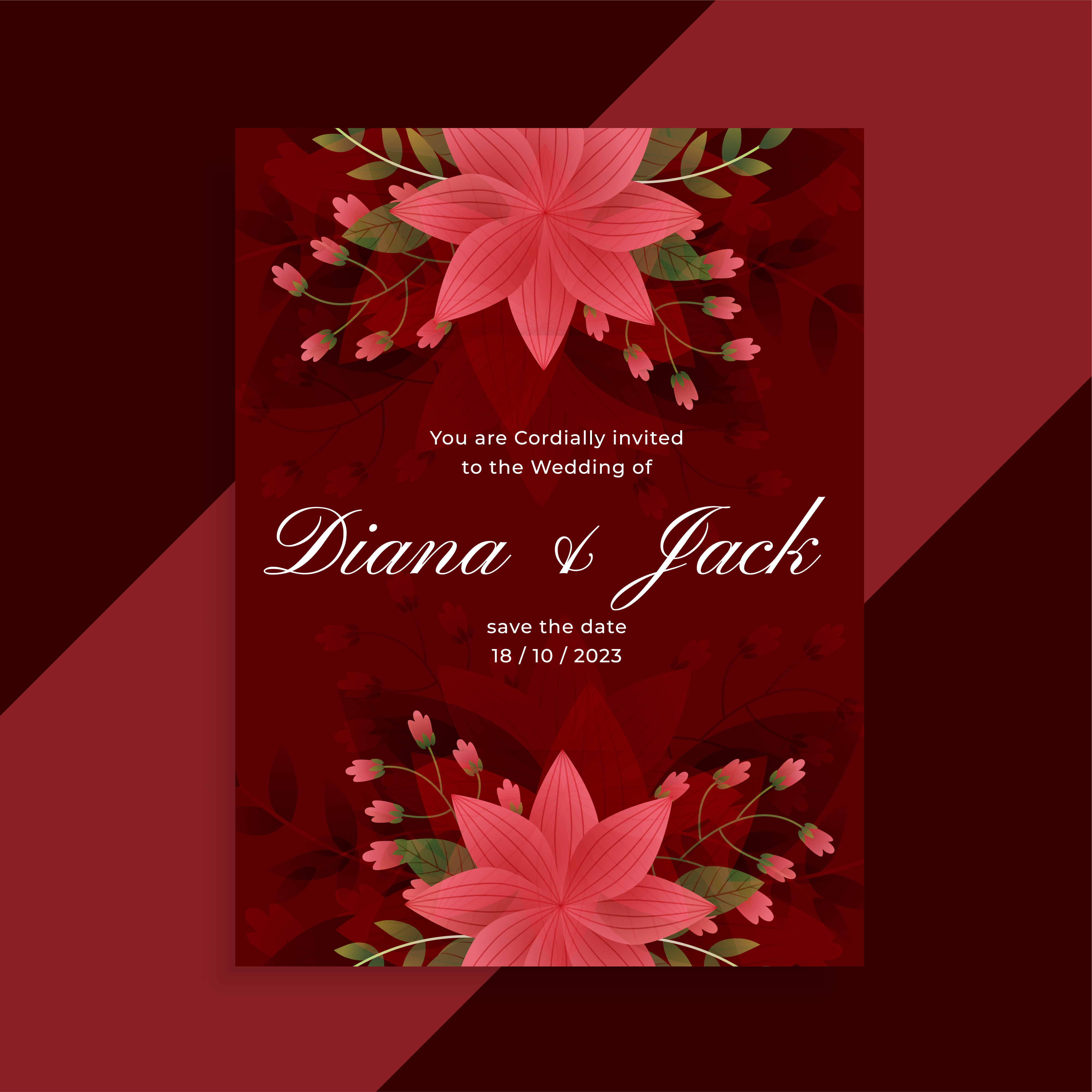 lovely red wedding invitation floral card design - Download Free ...