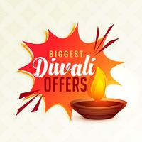 diwali festival offer banner with diya