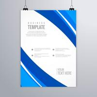 Modern blue wavy business brochure template vector design