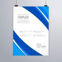 Diseño de vector de plantilla de folleto comercial ondulado azul moderno