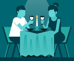 People Eating At Restaurant Illustration vector