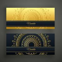 conjunto de dos banderas doradas de lujo mandala
