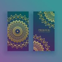 luxury mandala cards in golden theme