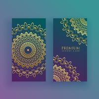 cartões de mandala de luxo no tema dourado