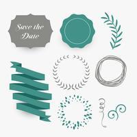 uppsättning blommor, etiketter och band för bröllopsdesign