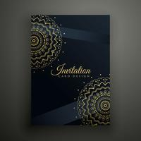 black mandala flyer design template