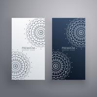 conjunto premium de desenhos de cartão de mandala