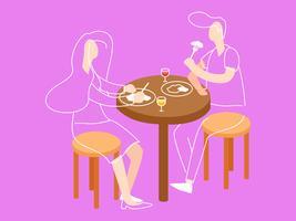 Pessoas pendentes comendo em vetores de restaurante