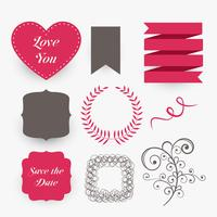 precioso conjunto de elementos de diseño de la boda