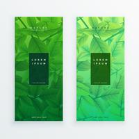 green eco leaves banner set