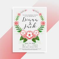 beautiful floral wedding card invitation design