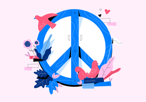 Love And Peace Background Vector Flat Concept Illustration