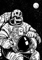 Astronaute squelette linogravure
