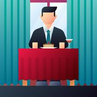Businessman Eating In A Restaurant Vector Illustration
