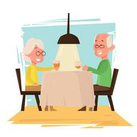 Sweet Grandparents Romantic Dinner Vector Illustration