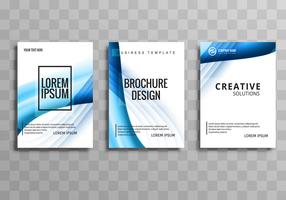 Beautiful wave business brochure set template design