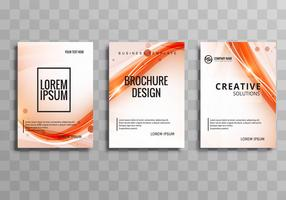 Beautiful shiny business wave brochure set template vector