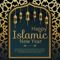 Islamic New Year Greeting Card Vector